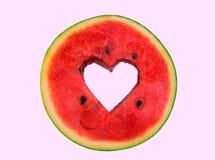 Coeur sur la pastèque Photos libres de droits