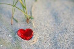 Coeur sur la plage Photographie stock