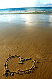 Coeur sur la plage le soir Photo libre de droits