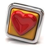 Coeur sur le bouton orange Photo stock