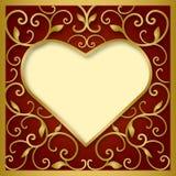 Coeur sur le fond rouge Images libres de droits