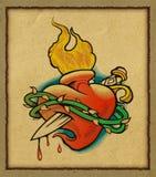Coeur sur le papier réutilisé par feu illustration stock