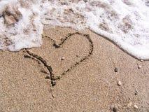 Coeur sur le sable Image libre de droits