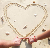 Coeur sur le sable Photo libre de droits