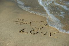 Coeur sur le sable Photo stock