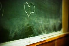 Coeur sur le tableau noir Photographie stock