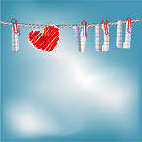 Coeur sur une corde dans le ciel Photo stock