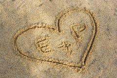 coeur sur une plage Photographie stock libre de droits