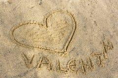 Coeur sur une plage Images libres de droits