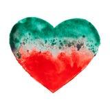 Coeur tiré par la main d'aquarelle Photos stock