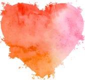Coeur tiré par la main d'aquarelle de vecteur abstrait Image stock