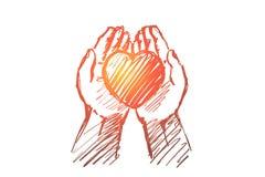 Coeur tiré par la main dans des paumes humaines illustration stock