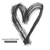 Coeur tiré par la main de calligraphie d'isolement sur le fond blanc illustration stock