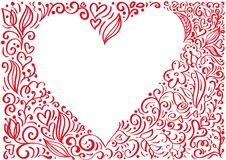 Coeur tiré par la main de fond de vecteur de valentines de cadre rouge de jour avec l'endroit pour le texte Valentine de concepti illustration de vecteur