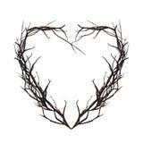 Coeur tissé des brindilles Trame florale décorative Illustration Stock