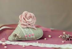 Coeur tricoté, Valentine, métiers Image libre de droits
