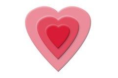 Coeur triple d'amour Images libres de droits