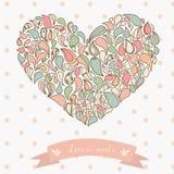 Coeur turc d'ornement de concombre Tiré par la main Illustration Stock