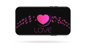 Coeur ultra-violet avec le fond d'icônes de genre illustration de vecteur