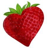 Coeur Valentine de fraise Photos libres de droits