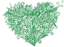 Coeur vert dans le style de zentangle D'isolement sur le fond blanc Modèle de fines herbes pour anti schéma effort de livre de co Photographie stock libre de droits