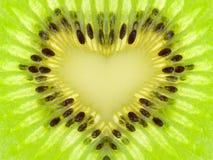 Coeur vert de kiwi Photographie stock libre de droits