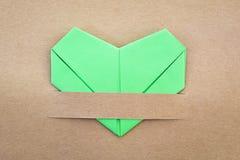 Coeur vert de papier Photographie stock