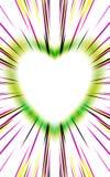 Coeur vert des bandes sur un fond blanc pour le jour de mères, jour de valentines Photo libre de droits