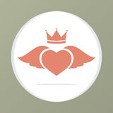 Coeur Wing With Crown Photo libre de droits