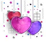 Coeurs abstraits colorés pour la célébration de jour du ` s de Valentine Photos libres de droits