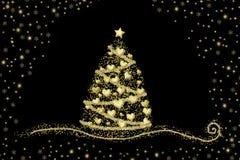 Coeurs abstraits d'arbre de Noël d'or sur le noir Image libre de droits