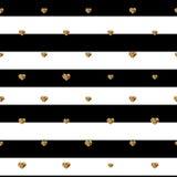 Coeurs abstraits de jour de Valentine s Coeurs éclatants d'or Fond dépouillé sans couture pour votre conception Illustration de v Photo stock