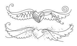 Coeurs à ailes Photos stock