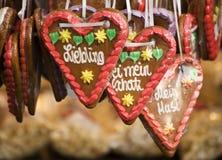 coeurs allemands de pain d'épice Photo libre de droits
