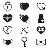 Coeurs, amant, icônes de concept de couples réglées Photo stock