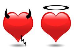 Coeurs. Ange et diable Photos libres de droits