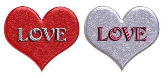 Coeurs assortis de «AMOUR» Images libres de droits
