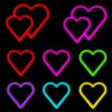 Coeurs au néon Photo stock