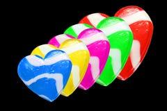 Coeurs au néon de sucrerie Images stock