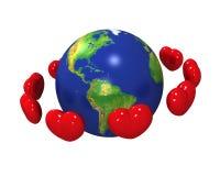 Coeurs autour de la terre Photographie stock libre de droits
