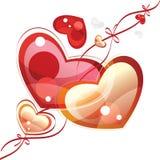 Coeurs avec des bandes, fond de valentine illustration de vecteur