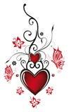 Coeurs avec des fleurs illustration libre de droits
