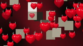 Coeurs avec des klaxons en rouge illustration de vecteur