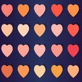 Coeurs avec des ombres dans différentes couleurs, fond de vecteur Photos libres de droits