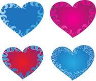 Coeurs avec des ornements Photos libres de droits