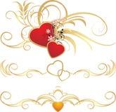 Coeurs avec l'ornement floral. Configuration des trames Photos libres de droits