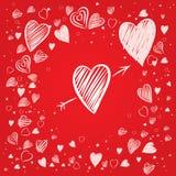 Coeurs avec le fond rouge illustration libre de droits