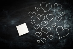 Coeurs avec le post-it Photo libre de droits