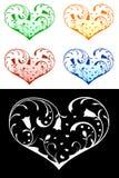 Coeurs avec les décorations florales illustration libre de droits