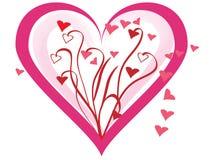 Coeurs avec les vignes florales Photos stock